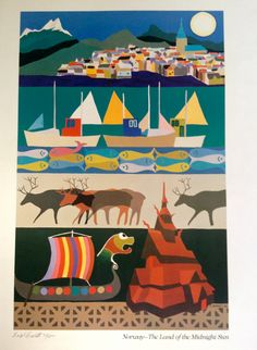 Limited Edition Lithograph Norway Travel by VintageArkiv on Etsy