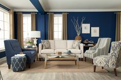 Blue Living Room Decor - What colors go with navy blue? Blue Living Room Decor - What colors go well with sky blue? Navy Living Rooms, Blue Living Room Decor, Coastal Living Rooms, Formal Living Rooms, New Living Room, Interior Design Living Room, Living Room Designs, Living Room Furniture, Navy Blue And Grey Living Room