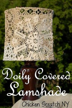 "Home decor DIY tutorial from ""Chicken Scratch"": Doily Covered Lampshade. Home decor DIY tutorial from ""Chicken Scratch"": Doily Covered Lampshade. Paper Doily Crafts, Doily Art, Doilies Crafts, Paper Doilies, Diy Crafts, Diy Home Decor Projects, Diy Projects To Try, Origami Lamps, Do It Yourself Vintage"