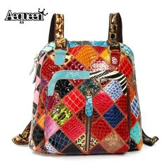 AEQUEEN Women Genuine Leather Backpack Female Leather Sheepskin Vintage  Ladies Shoulder School Bags Colorful Random Patchwork-in Backpacks from  Luggage ... fd7e80ac48f72