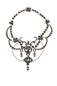 A SAPPHIRE, CULTURED PEARL, ROSE-CUT DIAMOND, SILVER AND GOLD NECKLACE  Of garland design, set with circular-cut sapphires, dark blue with typical abrasions and inclusions, seed pearls, grey baroque cultured pearls, and rose-cut diamonds, mounted in gold and silver