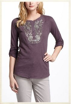 Embroidered Peasant Tee $58.00