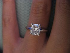 Beautiful!! Cushion cut solitaire engagement ring