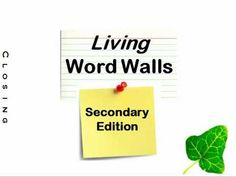 Word Wall: Secondary Edition - YouTube. Ways to use word walls for secondary students.