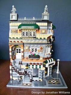 Lego Corner Candy and City Post & Library MOC Order today! Lego Duplo, Lego 4, All Lego, Lego City, Lego Modular, Lego Design, Lego Creator, Lego Friends, Construction Lego