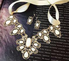 42.50$  Buy now - http://vistu.justgood.pw/vig/item.php?t=m3n7eyc13880 - Wedding jewelry set, bridal jewelry set, Victorian jewelry set, Vintage jewelry