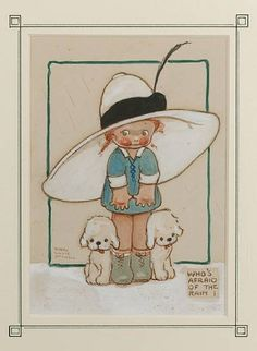 "Mabel Lucie Attwell illustration- ""Who's afraid of the Rain!"""