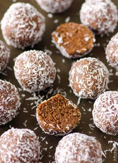Almond Joy Protein Balls Recipe - Vegan and gluten free high protein snack that tastes similar to a popular chocolate bar. All clean eating ingredients are used for this healthy protein ball recipe. Pin now to try this healthy snack recipe later! High Protein Snacks, Protein Bites, Protein Foods, Protein Recipes, Almond Joy, Almond Meal, Vegan Desserts, Vegan Recipes, Cooking Recipes