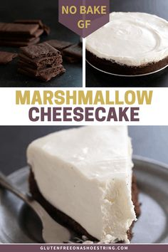 For the creamiest no bake cheesecake combine homemade marshmallows with cream cheese and whipped cream. For the creamiest no bake cheesecake combine homemade marshmallows with cream cheese and whipped cream. Marshmallow Cheesecake, Cheesecake Desserts, Köstliche Desserts, Delicious Desserts, Dessert Recipes, Homemade Cheesecake, Fudge Recipes, Plated Desserts, Gluten Free Marshmallows