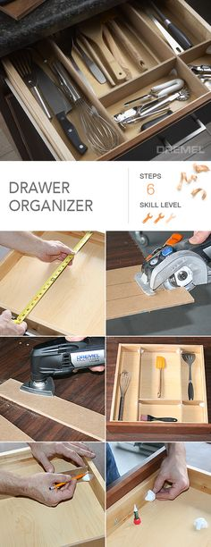 Never use the dollar store dividers again. How to make genius, totally custom drawer organizers to keep your home neat and tidy. Dollar Store Bins, Dollar Store Hacks, Dollar Stores, Kitchen Drawer Dividers, Bathroom Cabinet Organization, Tea Station, How To Make Drawers, Garden Diy On A Budget, Organization Skills