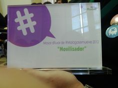 """Recogimos el premio """"Movilizador"""", justamente otorgado a nuestra amiga @PazSegura #malagasemueve"""