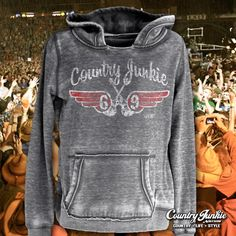 69 Wings Hoodies S-XXL Country Junkie hoodies from Cowgirl Blondie's Western Boutique will be your favorite cool weather gear.