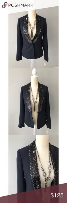 NWT Maison Scotch Sequined Blazer This blazer is a BEAUTY!! Two-toned sequined - black OR silver depending on how you brush it (up or down). So festive and beautiful tailored fit.   ❗️Size 1 = US 4 Maison Scotch Jackets & Coats Blazers