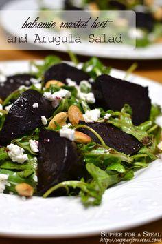 beet, balsamic vinegar, olive oil, roasted, salad, arugula, goat cheese, almonds, barefoot contessa, ina garten, foolproof, roasted beets