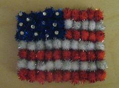 Preschool Crafts for Kids*: 4th of July Pom Pom Flag Craft