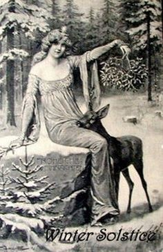 "The Cailleach: Gaelic Goddess of Winter - Vintage image from a Winter Solstice greeting card. In her book, ""European Mythology,"" Jacquel - Christmas Past, Vintage Christmas, Vintage Winter, Christmas Deer, Outdoor Christmas, White Christmas, Christmas Lights, Christmas Cards, Xmas"