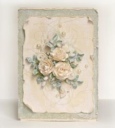 handmade card ... shabby chic .... vintage feel ... gorgeous posey of artifical roses and folliage .. .creamy yellow and green ...
