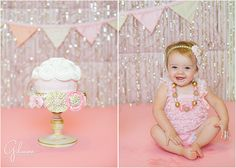 Pink and Girly One Year Old Cake Smash- Newport Beach, Photographers in Orange County, Cake smash, giant cupcake, Great Dane Bakery, Flower headbands, baby rompers, big needed necklace, happy baby, blue eyes, baby girl, girl cake smash, children, kids, toddlers, one year old, i am one, birthdays, children portraits, cute, adorable, husband and wife team photographers, instagram, GilmoreStudios.com
