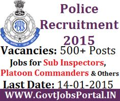 POLICE RECRUITMENT FOR 500+ SUB INSPECTOR POSTS 2015