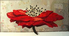 Art Textile, Quilted WallHanging, Quilt Art, Fiber Art, Interior decor, Red Poppy, Flower, Japanese motive, black red gold, bright art quilt