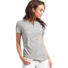 Gap Women Vintage Wash Sueded Crewneck Tee ($25) ❤ liked on Polyvore featuring tops, t-shirts, heather grey, regular, short sleeve crew neck tee, curved hem tee, short sleeve tee, relaxed tee and crew-neck tee