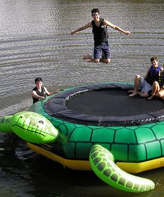 Now this is a novel idea! Bounce on the water babies! Love this Turtle Jump Water Trampoline