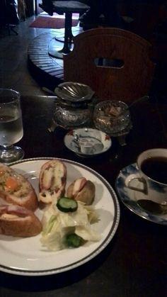 喫茶  麓鳴館   オープンサンドとコーヒー