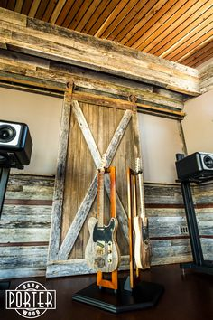 Take a look inside this private music recording studio! Viator Associates Inc did a fantastic job integrating our reclaimed materials into the acoustic design of the room.