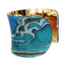 Agate Printed Leather Gold Lined Cuff by UNEARTHED by UNEARTHED