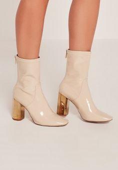 Nude Patent Metallic Heel Ankle Boots
