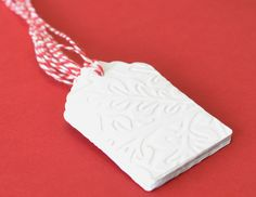 Large White Embossed Holiday Tags with Red Twine, 20 Die Cut Tag, Christmas Gift Tags, White Die Cuts on Etsy, $10.00