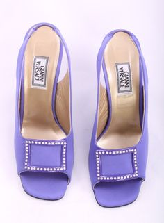 Gianne Versace Purple Open Toe Slingback Rhinestone Buckle Heels Size – London Couture