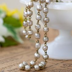 Vintage Miriam Haskell Baroque Oyster Glass Pearl Bead Link