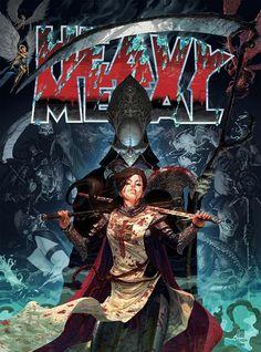Heavy Metal Magazine cover by Tom Jilesen (pencils) & Fabian Schlaga (colors) Arte Heavy Metal, Heavy Metal Movie, Heavy Metal Rock, Bd Comics, Horror Comics, Horror Art, Metal Magazine, Magazine Art, Magazine Covers
