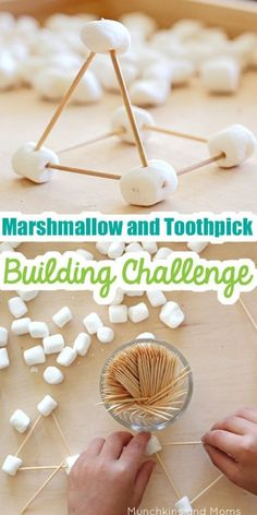 This marshmallow and toothpick building challenge is a fun activity for kids that builds STEM and STEAM skills. This marshmallow and toothpick building challenge is a fun activity for kids that builds STEM and STEAM skills. Babysitting Activities, Camping Activities, Fun Activities For Kids, Preschool Activities, Games For Kids, Camping Hacks, Camping Ideas, Nanny Activities, Kid Games