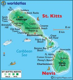 St Kitts and Nevis Large Color Map