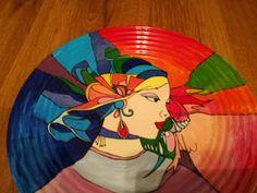 "Handmade by Do : "" Veiled girl "" Platou - ""Fata cu văl pe cap"" . On October 3rd, July 4th, Greek Pattern, Ceramic Angels, Flower Stands, Hand Painted Ceramics, Ceramic Mugs, Cap, Handmade"