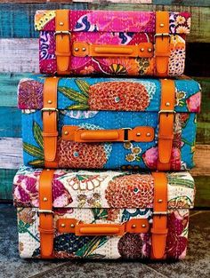 Travel in color! ~ Bohemian suitcases ~ colorful wooden trunk cases covered with Kantha quilt handcrafted textiles from India. Gives me an idea to cover a hardshell suitcase with fabric, and I love the belts too! Kantha Quilt, Quilts, Suzani Fabric, Upholstery Fabrics, Hippie Bohemian, Bohemian Decor, Boho Chic, Boho Style, Hippie Chic Decor