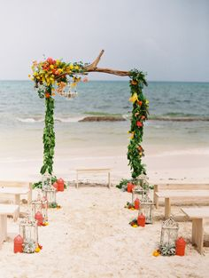Dreamy beach ceremony: http://www.stylemepretty.com/destination-weddings/2015/02/24/intimate-rosewood-mayakoba-wedding-inspiration/ | Photography: Lane Dittoe - http://lanedittoe.com/