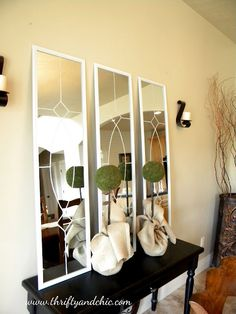pretty diy mirrors - I actually gave three of these mirrors just laying around ... Might have to dress them up and put them somewhere