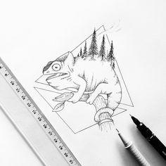 Lazy Chameleon #art #drawing #illustration #chameleon #dotwork #geometric #pen #ink #tattoo