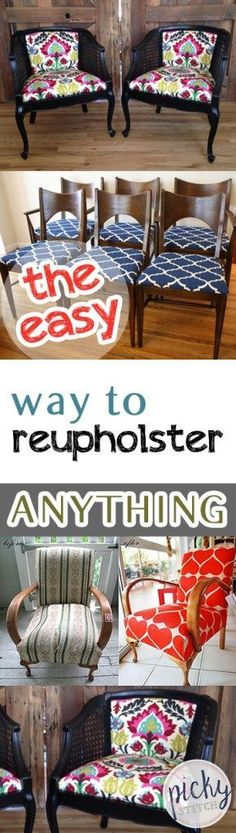 The Easy Way to Reupholster ANYTHING| How to Re Upholster Anything, Reupholster Furniture, How to Repholster Your Furniture Easily, Easy Ways to Repholster Furniture, DIY Home, DIY Home Decor, Home Remodeling Projects, Remodel Your Furniture, Popular Pin