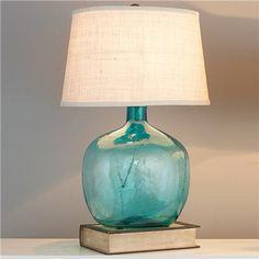 Perfect The Aqua Cascade Table Lamp Is Simply Designed Yet Exudes An Upscale Feel.  Its Turquoise Glass Is Dimpled To Add Visual Interest And Diffuse The Liu2026