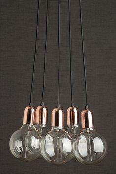 5 Globe Copper Cluster Pendant Light