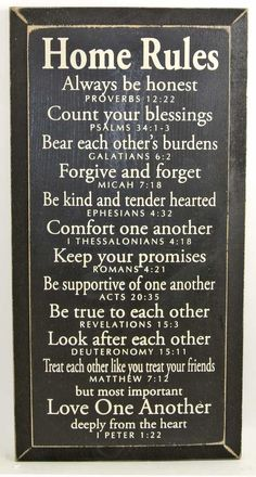 Home Rules - Always be honest - Proverbs 12:22...Sign