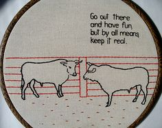 Stephanie Tillman makes funny embroideries.