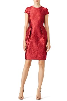 Rich red pleated cocktail dress. Perfect for a glamorous engagement party!  Carmen Marc Valvo Red Cardinal Pleat Sheath