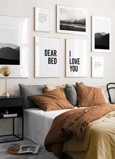 Cozy Gallery Wall Decor Ideas For Bedroom - People invest a lot of time and money in decorating the living room, dining hall, and other frequently visited places of their home. Bedroom Wall Decor Above Bed, Gallery Wall Bedroom, Bed Wall, Bedroom Decor, Gallery Walls, Bedroom Pictures Above Bed, Pictures Over Bed, Wall Tv, Frame Gallery