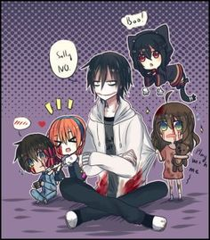 It's look like slendy say him to take care kids. I very lazy today and have an empty idea now! But I will draw more creepypasta and yandere soon. Jeff the killer, Sally, Jeff The Killer, Familia Creepy Pasta, Creepy Pasta Family, Creepypasta Slenderman, Familia Anime, Slender Man, Wattpad, Animes Wallpapers, Easy Drawings