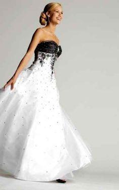 Beautiful black and white wedding dress